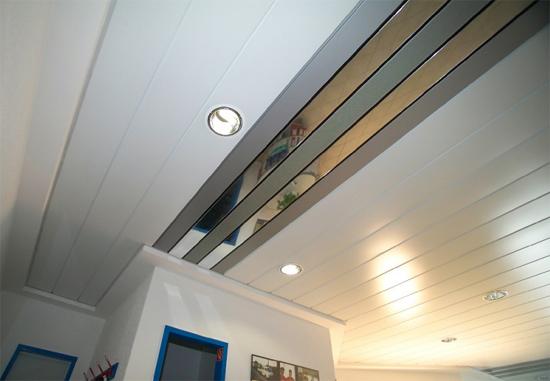 реечный алюминиевый потолок фото