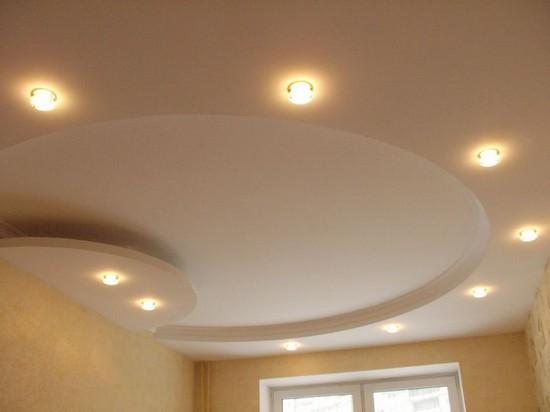 на фото двухуровневые потолки из гипсокартона
