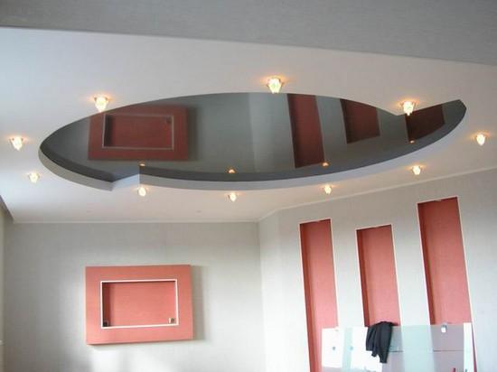 двухуровневые потолки из гипсокартона на фото