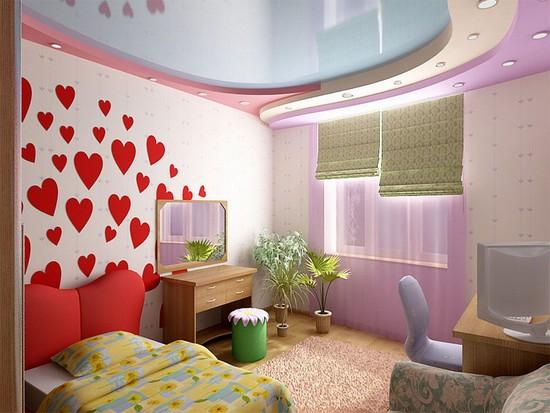 натяжной потолок фото в спальне