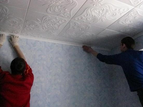 клеевые потолки монтаж