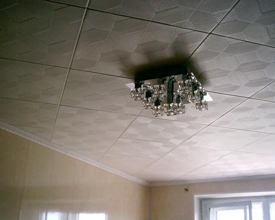 клеевые потолки в зале