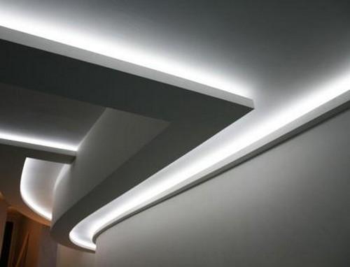 серая подсветка натяжного потолка