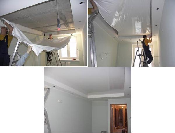 натяжной потолок на кухне своими руками фото