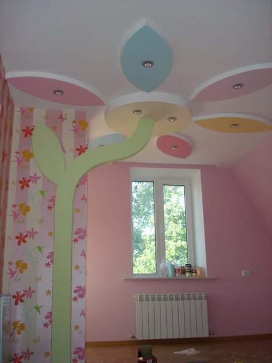 детской в комнате потолки из гипсокартона фото