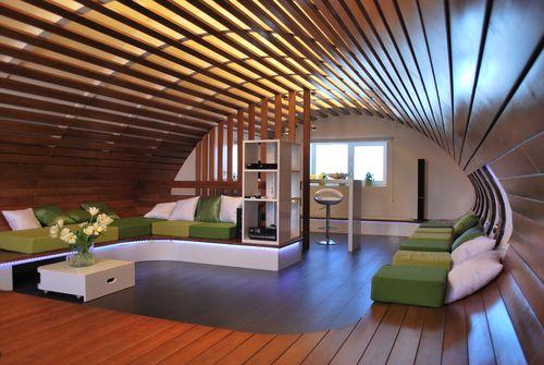 Дизайн гостиной под дерево