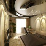 Идеи оригинального дизайна потолка в спальне